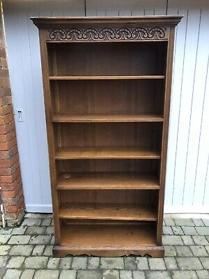 Old Charm Wood Bros Solid Carved Oak Open Bookcase Bookshelves Gt Cond Sturdy