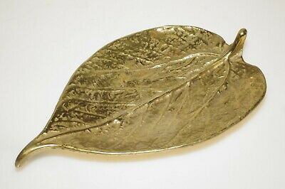 Vintage 1948 Virginia Metalcrafters Brass Mulberry Leaf/Dish 6""