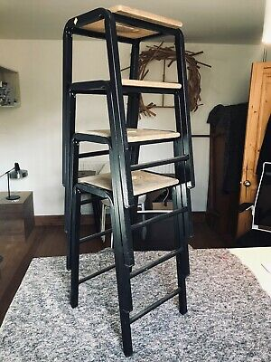 4x Vintage Science Lab Stools - Retro Industrial Stacking, Steel with wood tops