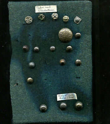 Tudor & Elizabethan decorated Buttons + later Bronze