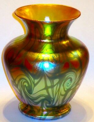 Stunning Durand Coil Iridescent Art Glass Vase in Blue & Gold