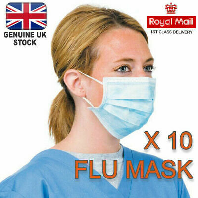 Disposable Surgical Face Mask For Virus & Flu Protection W/ Elastic Ear Loop