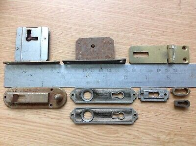 VINTAGE BRASS And METAL CATCHES ESCUTCHEONS LOCKS FITTINGS