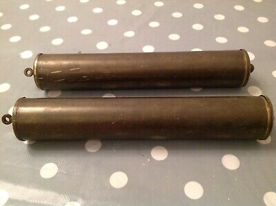 ANTIQUE VIENNA OR LONG CASE GRANDFATHER CLOCK WEIGHT PAIR LEAD 1.2kg 230x35mm