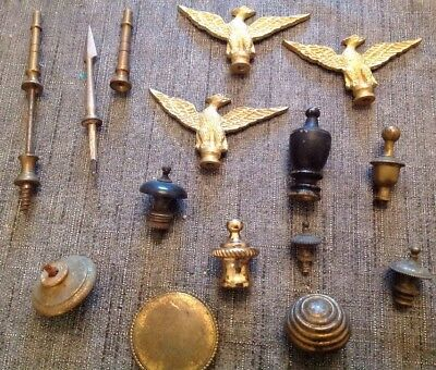 Antique Finials Incl Eagle Spear Beehive Job Lot From Clockmakers Collection