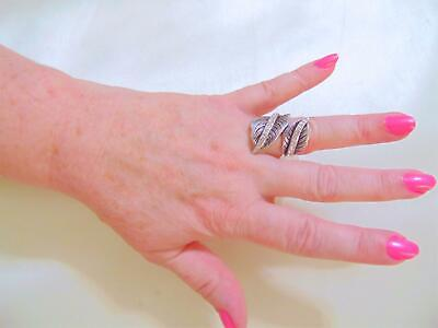 City By City Size 8 Antiqued Silver Tone Simulated Diamond Leaf Ring B4290 $25