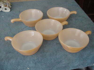 Set of 5 Fire King Coppertint Peach Individual Casseroles, Anchor Hocking