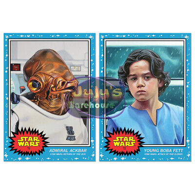 Topps Star Wars Living Set 2-Card Lot #71-72 Admiral Ackbar & Young Boba Fett