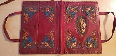 Vintage Burgundy Leather Embossed Book Cover
