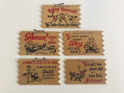 (5) Vintage 1950s Wood Plaque Cartoon Post Cards from Walgreens 3 ¼ x 5 ½