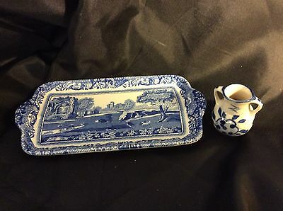 Spode Minature Tray Ex Condition Italian With Mini Urn Blue And White.