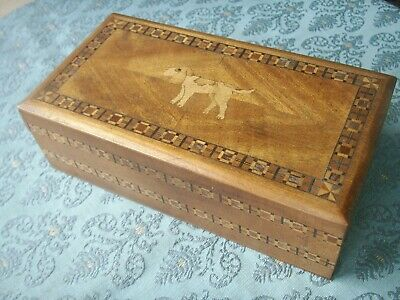Old Antique Inlaid Wooden Marquetry Dog Design Art Deco 1930s Box Marquetry Wood