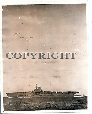 WW2 Large Original Press Photo of HMS Ark Royal with Aircraft Above