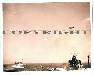 WW2 Large Original Press Photo of HMS Glasgow  HMS Glorious With Aircraft