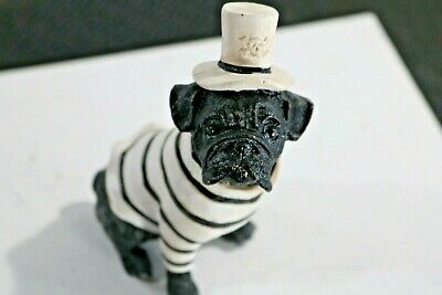 miniature Bulldog with Black and White Hat and Sweater Gift Resin Statue Fig