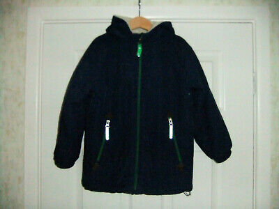 Boys Mini Boden Navy Blue Fur Lined Zip Front Hooded Jacket ~ Age 5~6yrs
