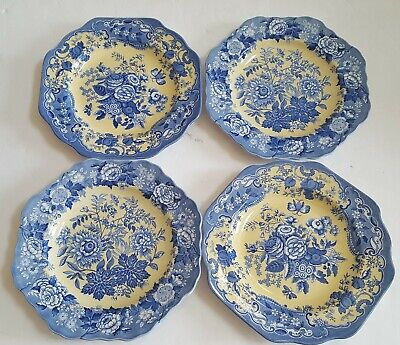 """SET OF 4 SPODE Blue Room GARDEN COLLECTION British Flowers 9 5/8""""BLUE YELLOW NEW"""