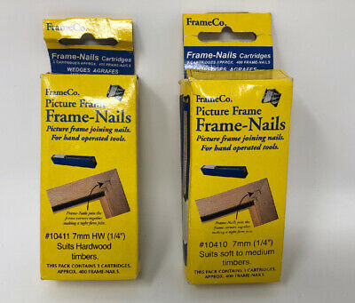 TWO PACKS Frameco V Nails 7mm ONE Hardwood 10411 ONE Soft to Medium wood 10410