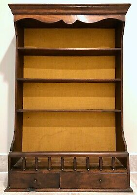 Antique wall-hanging wooden shelves with drawers