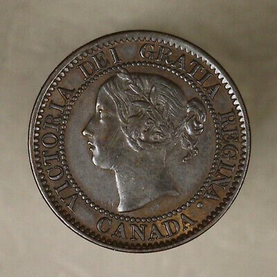 Canada 1859 Cent - Repunch 9 Variety Old Light Scratches on Obverse