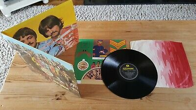 BEATLES SGT PEPPER 1967 UK WIDE SPINE 1st PRESS PMC 7027 IMPRESSIVE VINYL+AUDIO