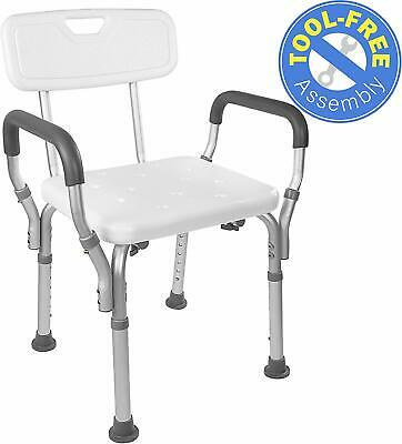 Vaunn Medical Adjustable Bathtub Shower Seat with Arms and Removable Back Side