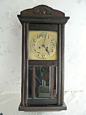 Vintage  EH Antique  Large Very Heavy Wooden WALL CLOCK h - 80 cm.