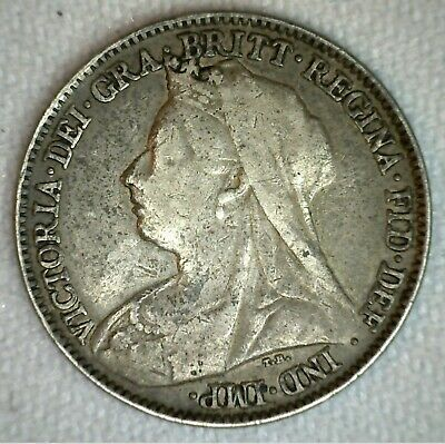 1896 UK Silver 6 Pence Sixpence Great Britain UK Tanner Coin Very Fine 6P VF