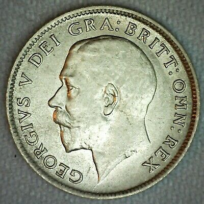 1922 Great Britain Silver Sixpence Coin Uncirculated 6 Pence UK Coin