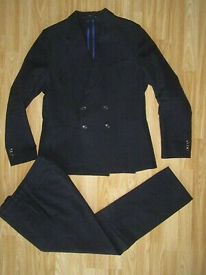 Mens PAUL SMITH Soho Fit Sz 52R/UK 42R/W 36 Textured Blue Wool Blend Suit GREAT