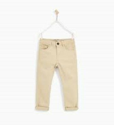 Zara Boy Beige Brown Basic Trousers Size 9 - 10 Years Old New With Tag