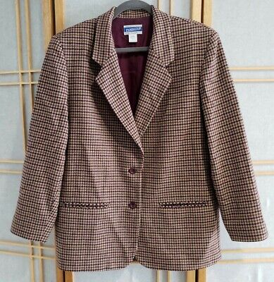 VTG Pendleton Knockabouts Wool Coat Houndstooth Blazer Jacket Womens Size Large