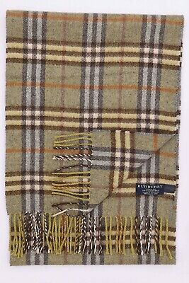 Genuine Burberry 100% Cashmere Green Check Vintage Scarf Made In England