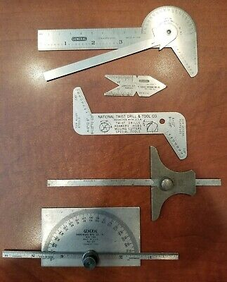 Lot of (5) Inspection Tools Brown & Sharpe No 615 Depth Gauge, Protractor, Other