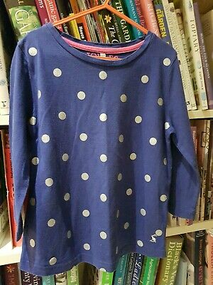 Joules Girls Spotty Blue And Silver Top Age 7-8 Years