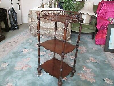 Antique Victorian Mahogany 3 Teir Whatnot with Gallery