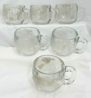 """Lot 6- Nestle Nescafe Globe World Map Frosted Etched Glass Coffee Cups Mugs 3"""""""