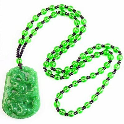 """Carved Green Jade Horse & Green Crystal Ball Pendant Necklace 17.5"""" S32439"""