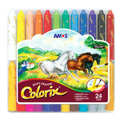 Amos Colorix Silky Crayon 24 colors pastel watercolor easy clean with gift case