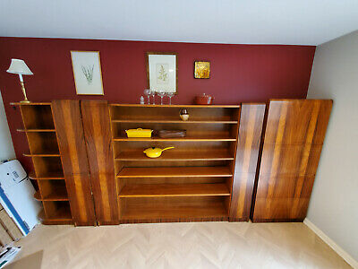 Antique 1930s French Deco 5-Piece Rosewood Veneer Bookcase, Shelves, Commode!