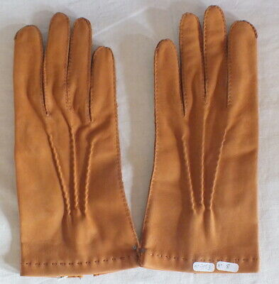Pair Gloves Hide Folded Silk Size 8 1/2 ( No. 8)