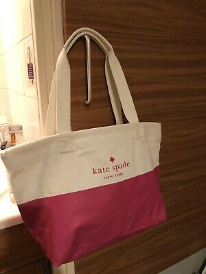 Kate spade White Cotton Pink Canvas Summer tote Shoulder bag
