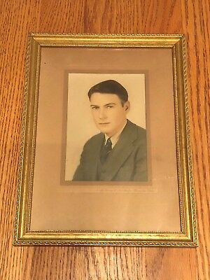 Vtg.  Professionally Framed Black And White Photo Of A Young Professional Man !