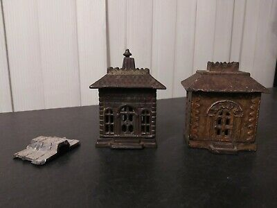 2 Antique Cast Iron Bank Building Coin Banks