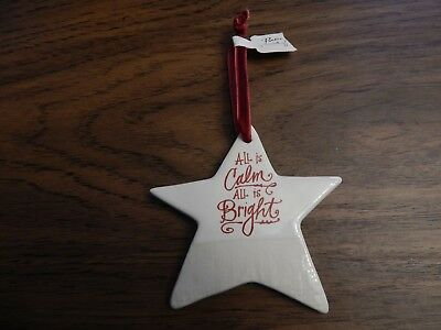 """Demdaco Poetic """"All is Calm, All is Bright Ceramic Christmas Star Ornament"""