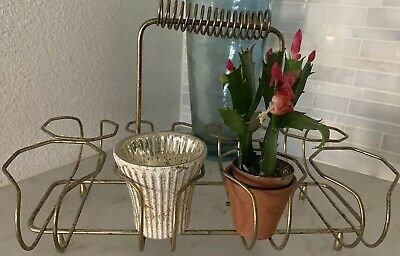 Vintage 1960's MCM Metal Brass Drink Caddy~ Use For Glasses, Candles, Plants