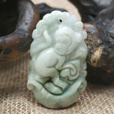 AAAAA Chinese Hand-carved aristocratic wearing Jadeite jade pendant monkey