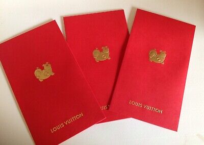 LOUIS VUITTON LV LUNAR NEW YEAR OF PIG RED POCKETS ENVELOPES (Set of 3) 2019 NEW
