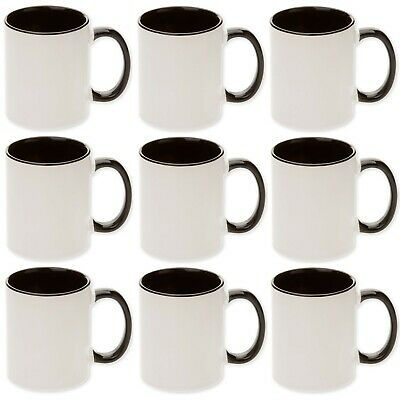 Qty 12pcs x 11oz Black Two Tone Sublimation Coated Blank Mugs
