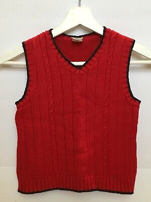 Boys Perfectly Dressed Red Sweater Vest Black Trim Size 4T EUC